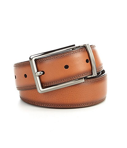 Roundtree & Yorke Burnished Edge Reversible Leather Belt