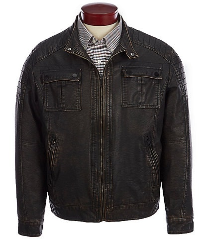 Roundtree & Yorke Faux Leather Distressed Bomber Jacket