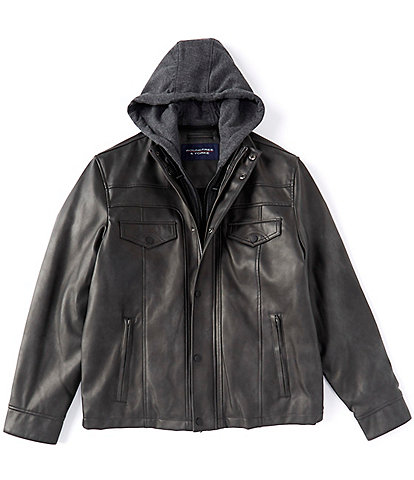 Roundtree & Yorke Faux-Leather Hooded Jacket