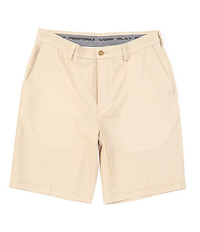 Roundtree & Yorke Flat-Front Heather Print Performance 9#double; Inseam Shorts