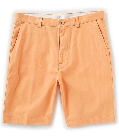 Roundtree & Yorke Flat Front Washed Cotton 9#double; Shorts