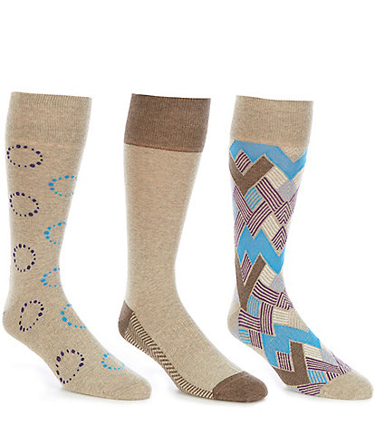 Roundtree & Yorke Gold Label Circle Dots Crew Socks 3-Pack