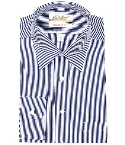 Roundtree & Yorke Gold Label Roundtree & Yorke Non-Iron Full Fit Point Collar Blue Bengal Stripe Dress Shirt