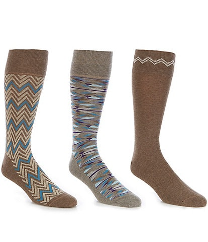 Roundtree & Yorke Gold Label Zigzag Crew Socks 3-Pack