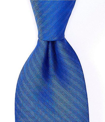 Roundtree & Yorke Herringbone Solid Narrow 3 1/8#double; Silk Tie