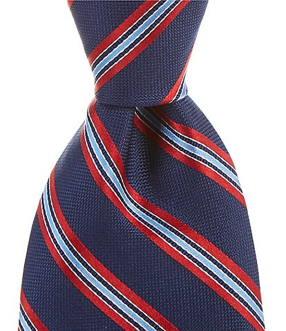 Roundtree & Yorke Jakes Stripe Traditional 3 3/8#double; Silk Tie