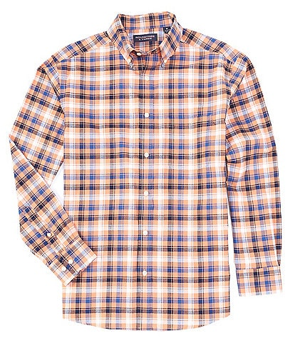 Roundtree & Yorke Long-Sleeve Plaid Pinpoint Oxford Sportshirt