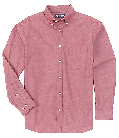Roundtree & Yorke Long-Sleeve Solid Pinpoint Oxford Sportshirt