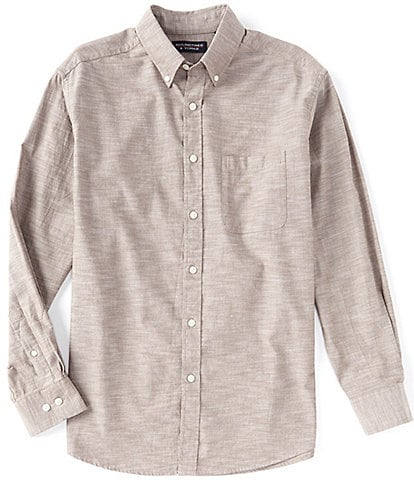 Roundtree & Yorke Long-Sleeve Tailored To Wear Untucked Chambray Sportshirt