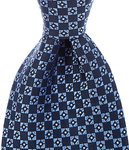 Roundtree & Yorke Mellis Neat Traditional 3 3/8#double; Silk Tie
