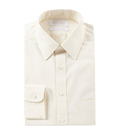 Roundtree & Yorke Non-Iron Slim Fit Point Collar Solid Ivory Dress Shirt