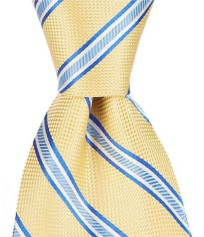 Roundtree & Yorke Ola Stripe Traditional 3 3/8#double; Silk Tie