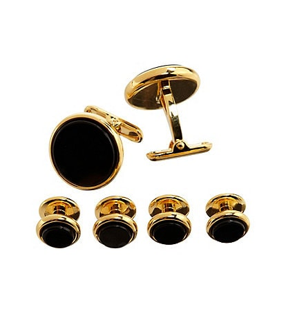 Roundtree & Yorke Goldtone Onyx Cuff Links & Stud Set
