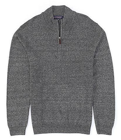 Roundtree & Yorke Quarter-Zip Mock Neck Cotton Acrylic Jaspe Sweater