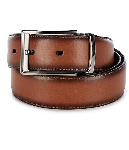 Roundtree & Yorke Shiny Nickle Reversible Leather Belt