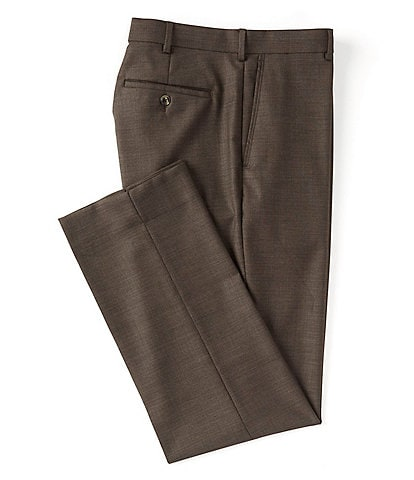Roundtree & Yorke TravelSmart Non-Iron Flat-Front Classic Modern Sharkskin Relaxed Fit Dress Pants