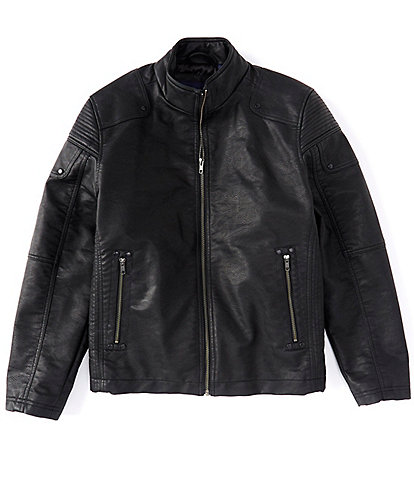 Roundtree & Yorke Water Resistant Faux-Leather Moto Jacket
