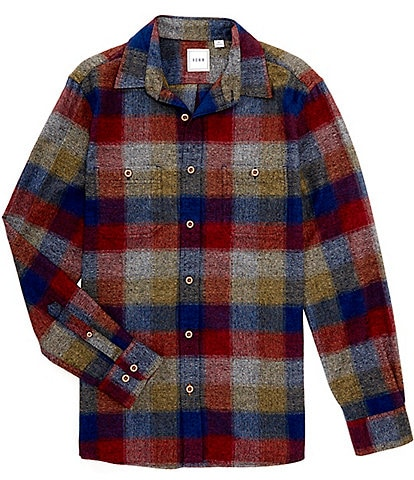 Rowm Long-Sleeve Check Plaid Brushed Mid-Weight Shirt Jacket
