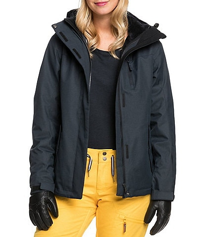 Roxy Jetty Three-In-One Solid Fur Fleece Snow Ski Jacket