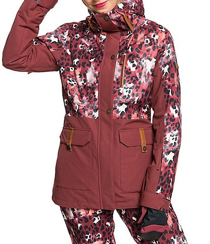 Roxy Andie Oxblood Red Leopold Snow Parka Ski Jacket