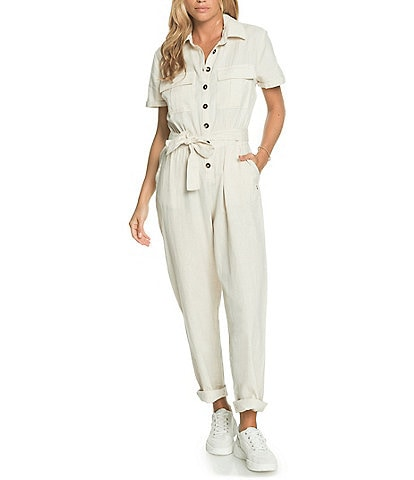 Roxy Beach Wonderland Short-Sleeve Linen-Blend Jumpsuit