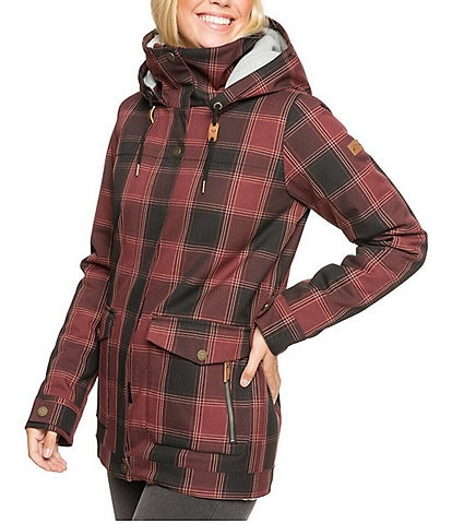 Roxy Brightshine Plaid Longline Snow Ski Jacket