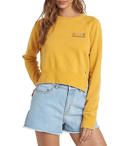Roxy Catch The Sun Raglan-Sleeve Burnout Fleece Sweatshirt