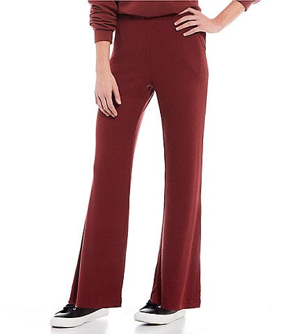 Roxy Coordinating High-Waist Cha Cha Cozy Flared Ribbed Pants