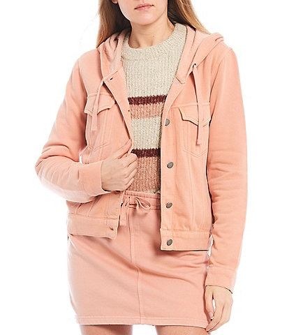 Roxy Coordinating Lost Island Button-Front Hooded Jacket