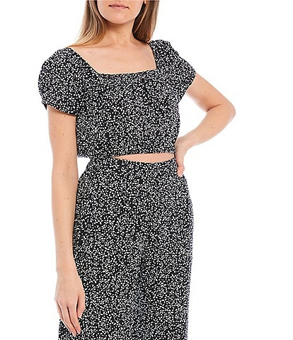 Roxy Coordinating Short Puff-Sleeve Glass Of Gold Printed Crop Top