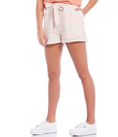 Roxy Coordinating Steal The Sun Striped High Rise Belted Tie Front Shorts