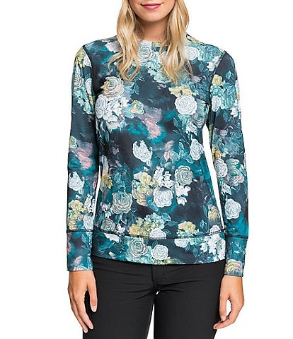 Roxy Daybreak Technical Base Layer True Sammy Black Floral Snow Ski Top