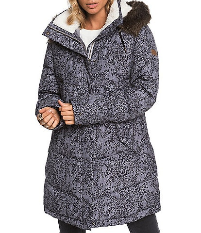 Roxy Ellie Blurry-Flower-Printed Hoodie Longline Faux-Sherpa Snow Jacket
