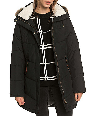 Roxy Ellie Faux Fur Trim Hooded Snow Ski Jacket