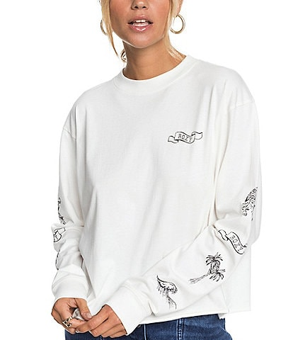 Roxy Fly Over World Long-Sleeve Jersey Cropped Tee