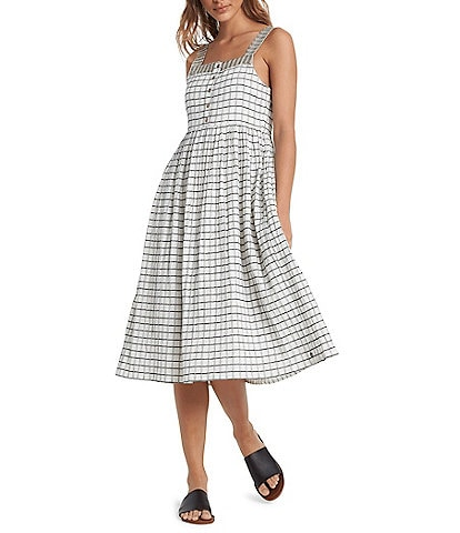 Roxy Fun And Games Sleeveless Checked Midi Dress