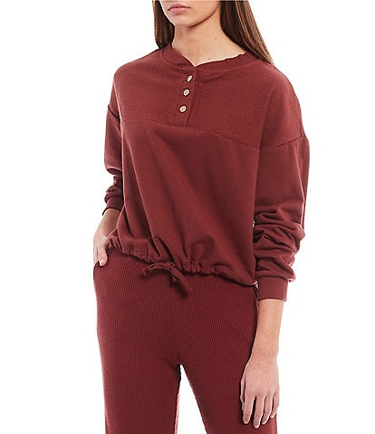 Roxy Coordinating Long-Sleeve Riding The Tides Partial Button-Front Knit Crop Top