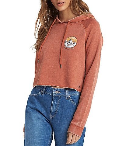 Roxy Long-Sleeve We Arrived Burnout Fleece Cropped Hoodie