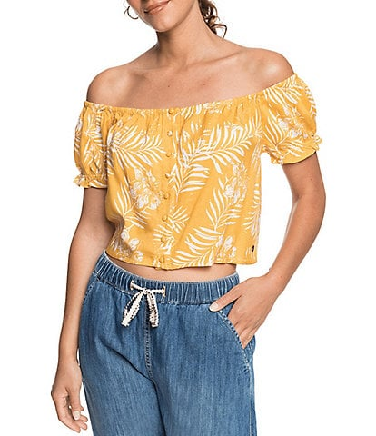 Roxy Midnight Magic Tropical Floral Button Front Puff Sleeve Top