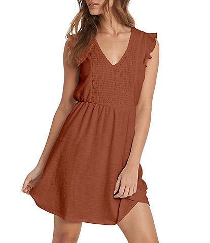Roxy Morning Breeze Smocked Flutter Sleeve Dress