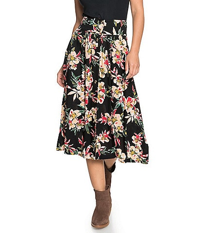 Roxy Never Been Better Floral-Printed Dobby Midi Skirt