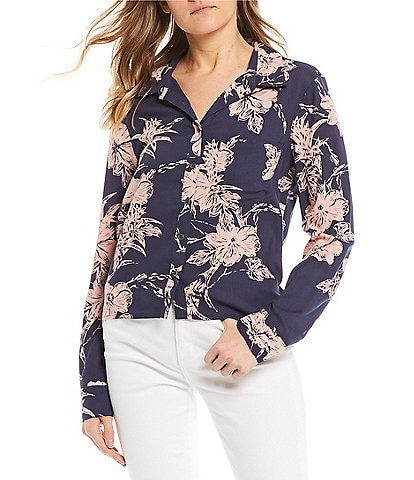 Roxy Not Now Printed Long-Sleeve Blouse