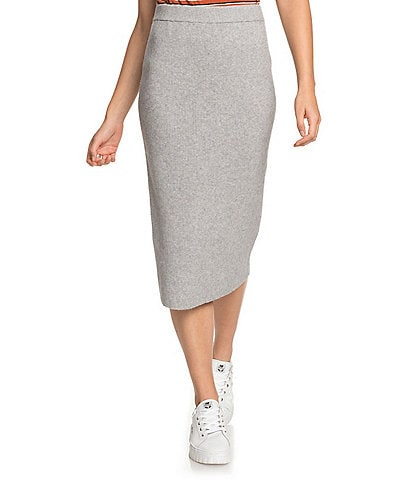 Roxy On My Cloud Ribbed Midi Skirt