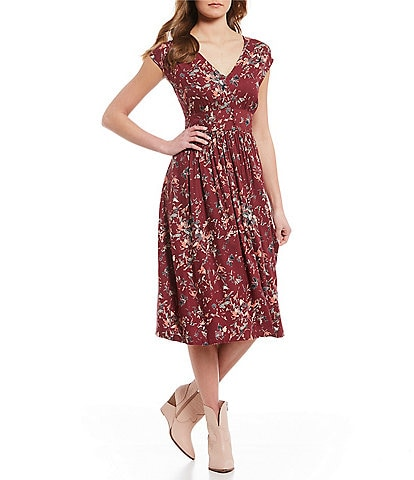 Roxy Retro Poetic Printed V-Neck Midi Dress