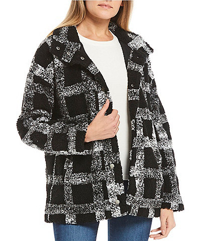 Roxy Set Your Sights Snap Front Checkered Plaid Sherpa Jacket
