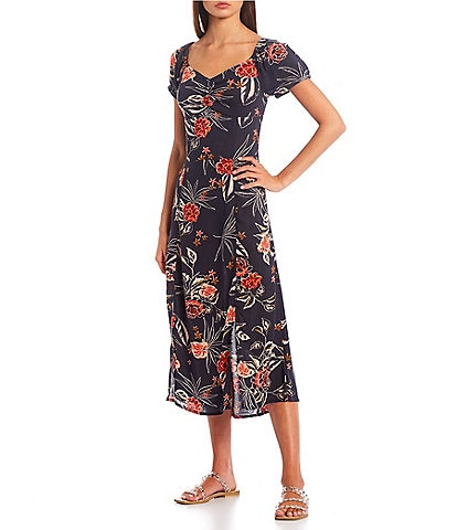 Roxy Soul Values Short-Sleeve Floral-Printed Fit-And-Flare Dress