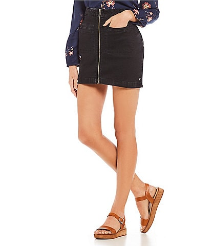 Roxy Street Direction Zip Front Denim Mini Skirt
