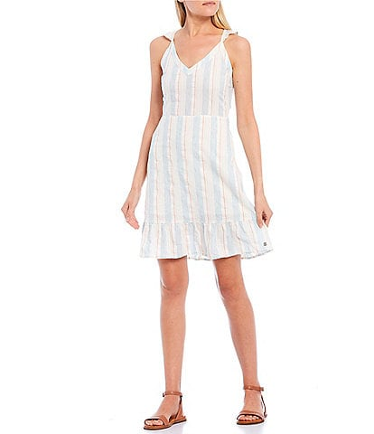 Roxy Sunday With You Stripe Ruffle Hem Dress