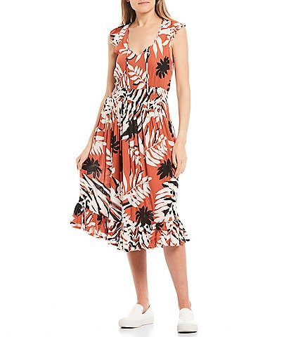 Roxy Time To Skip Tropical Leaf Printed Ruffle Hem Midi Dress