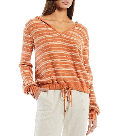 Roxy Turning Out Striped Acrylic-Blend V-Neck Hoodie